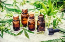 CBD Oil Bottles and Hemp Fibres