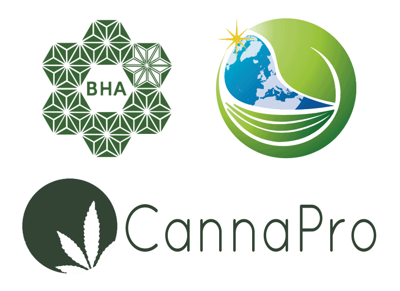 British Hemp Association, Cannabis Trades Association and CannaPro logos
